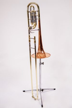 "Reynolds 72-X ""Philharmonic"" Contempora single rotor Bass Trombone with ""F"" and ""E"" tuning slides."